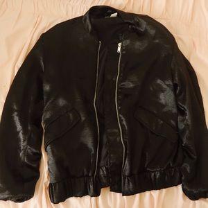 H&M SATIN BLACK JACKET